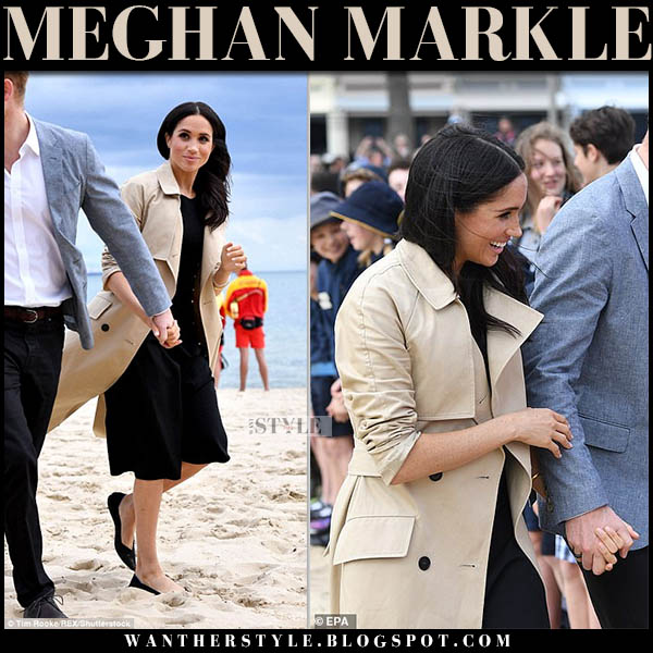 Meghan Markle in beige trench coat, black midi dress and black rothy's flats royal tour australia style october 19