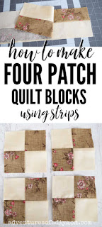 how to make four patch quilt blocks using strips