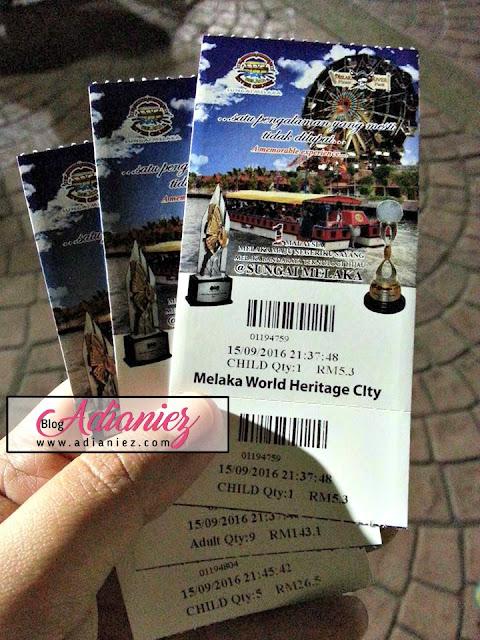 bayaran untuk naik melaka river cruise