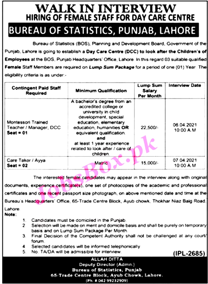 New Jobs in Bureas of Statistics Punjab BOS March 2021