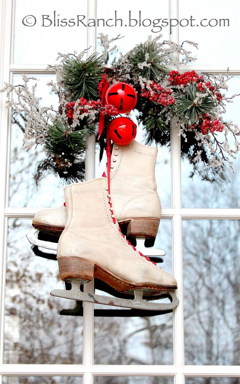 Xmas Vintage Ice Skates Fiber Optic Wreath Wall Hanging Ice Skates Holiday Gift