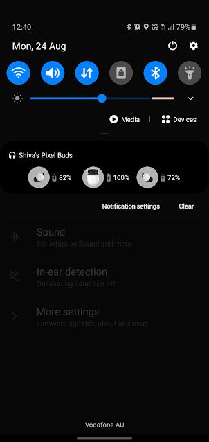 Google Pixel Buds 2 Notification bar view