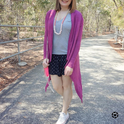awayfromtheblue Instagram | magenta purple cardigan with grey tee printed shorts converse sahm spring style pink mini mac bag