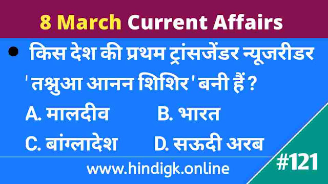 8 March 2021 Current Affairs In Hindi