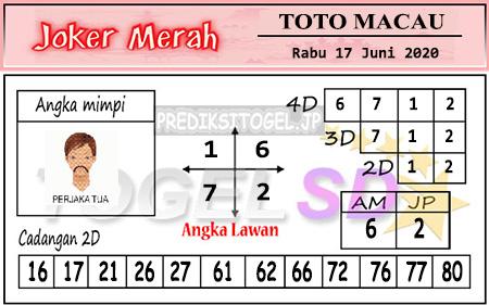 Prediksi Toto Macau Rabu 17 Juni 2020 - Joker Merah