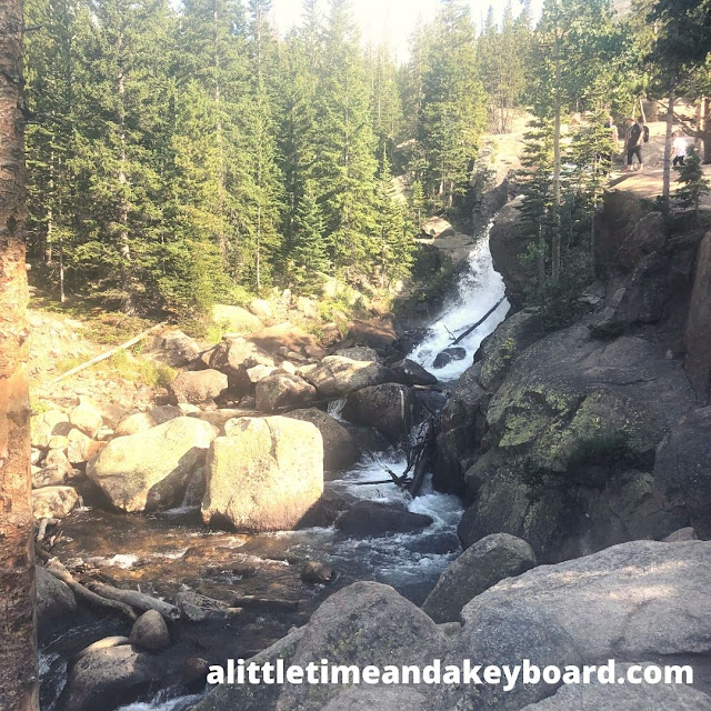 A waterfall tumbles at Rocky Mountain National Park.