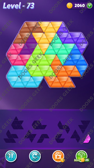 Block! Triangle Puzzle Master Level 73 Solution, Cheats, Walkthrough for Android, iPhone, iPad and iPod