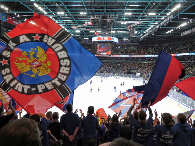 72 hours visa-free in Russia: Flags waving at the St. Petersburg SKA ice hockey game