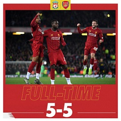 cuplikan gol liverpool vs arsenal 5-5
