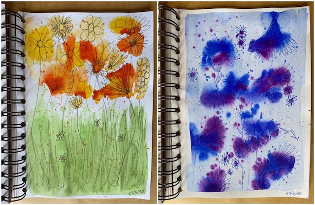 Watercolour doodled flowers