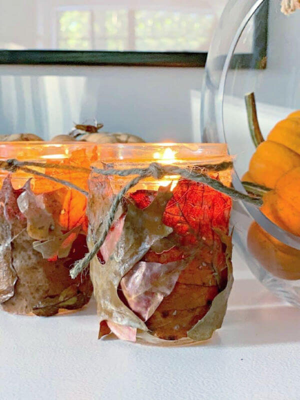 fall leaves candle holders