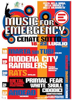MUSIC FOR EMERGENCY 2012  Cenate Sotto BG: Da mercoledì 18 a domenica 22 Luglio Ingresso Gratuito tutte le sere!