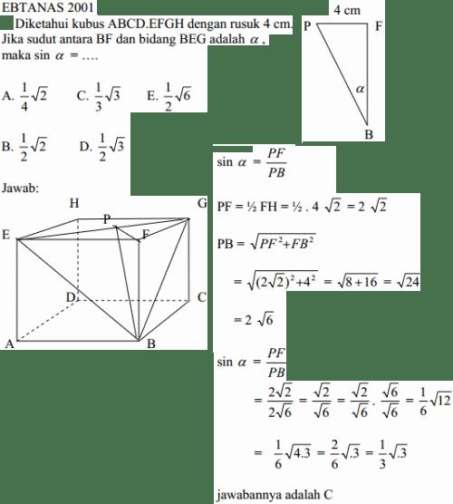 Cara menghitung sinus sudut atara garis bidang kubus.