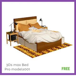 3Dsmax Bed 3d model Free Downloads