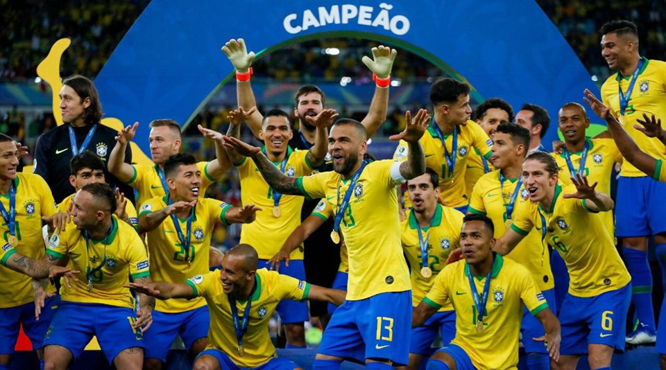 Brazil Team celebrating Victory of Copa America 2019 Final