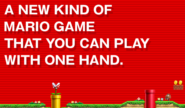 Super Mario Run Nintendo website one hand