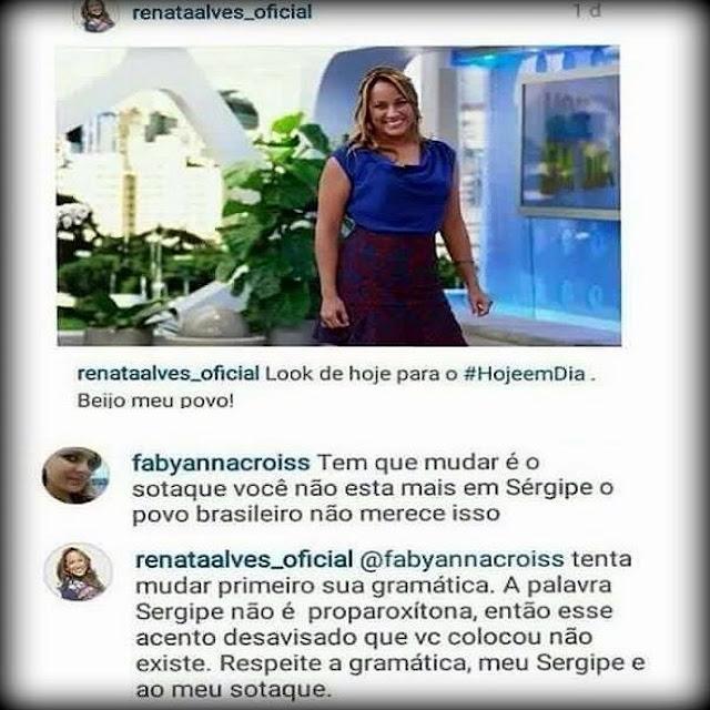 Apresentadora sergipana Renata Alves sofre ataques preconceituosos no Instagram
