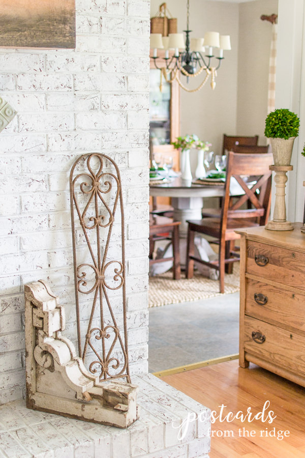 antique wooden corbel and iron fence section