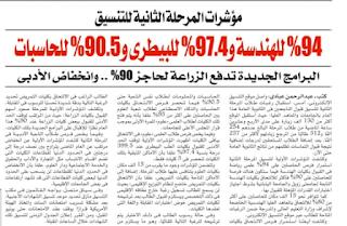 مؤشرات نتيجة المرحلة الثانية :97.4% للبيطري 94% للهندسة 90.5% للحاسبات الزراعة 90% ..انخفاض الادبي مؤشرات نهائية من جريدة الاهرام