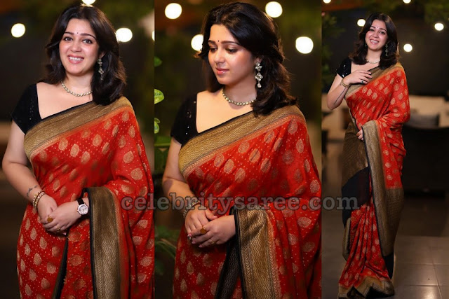 Charmy Kaur Benaras Saree in Orange