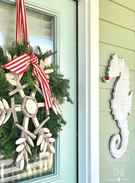 Coastal Christmas Front Porch & Door Decor Ideas