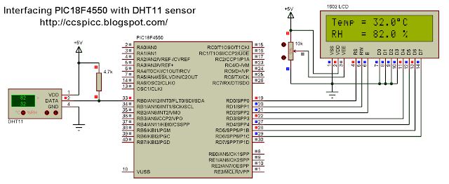 PIC18F4550A DHT11 RHT01 Proteus simulation CCS PIC C dhtxx.mdf