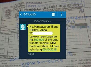 SMS e-tilang etilang lalu lintas