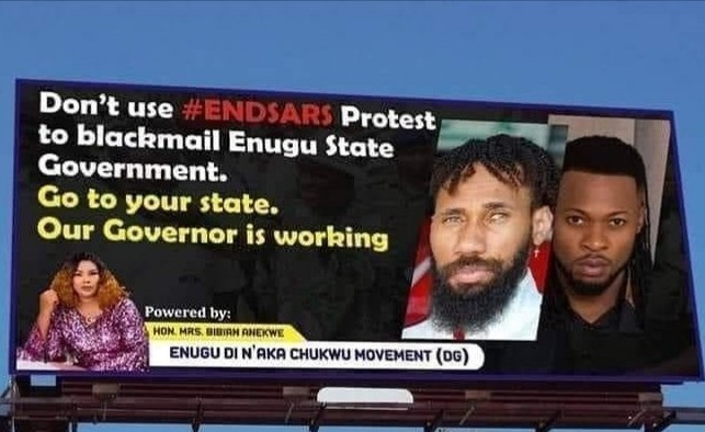 Lawmaker sponsors bill board asking Phyno and Flavour to take their ENDSARS protests out of Enugu