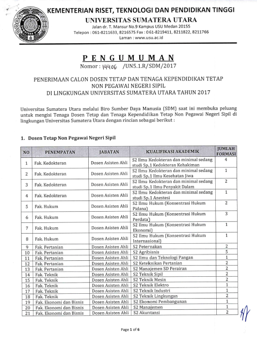 Penerimaan Calon Dosen Tetap dan Tenaga Kependikan Non Pegawai Negeri Sipil Universitas Sumatera Utara (USU)
