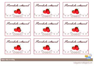 Etiquetas mermeladas caseras de fresa para imprimir y descargar gratis