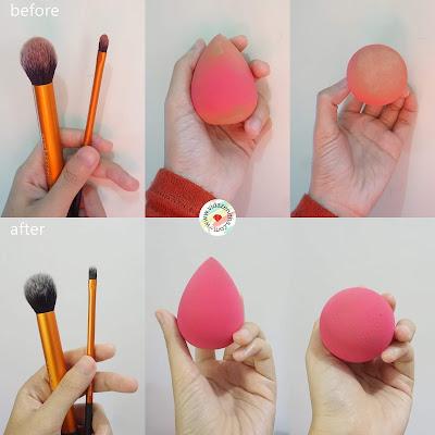 before after blendie bar cara mudah membersihkan kuas make up