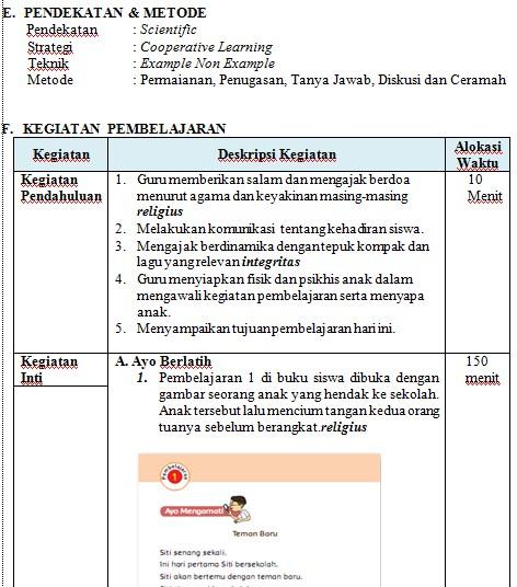 Download RPP Tematik Kelas 1 Tema 1 Kurikulum 2013 Edisi Revisi (Update)