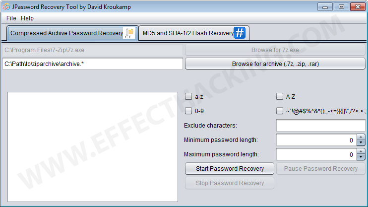 JPassword Recovery Screenshot