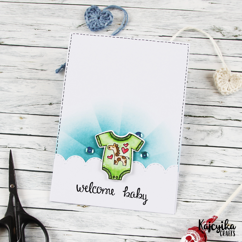 Welcome Baby card by April Guest Designer Kaja Vezenšek | Loveable Laundry Stamp set by Newton's Nook Designs #newtonsnook
