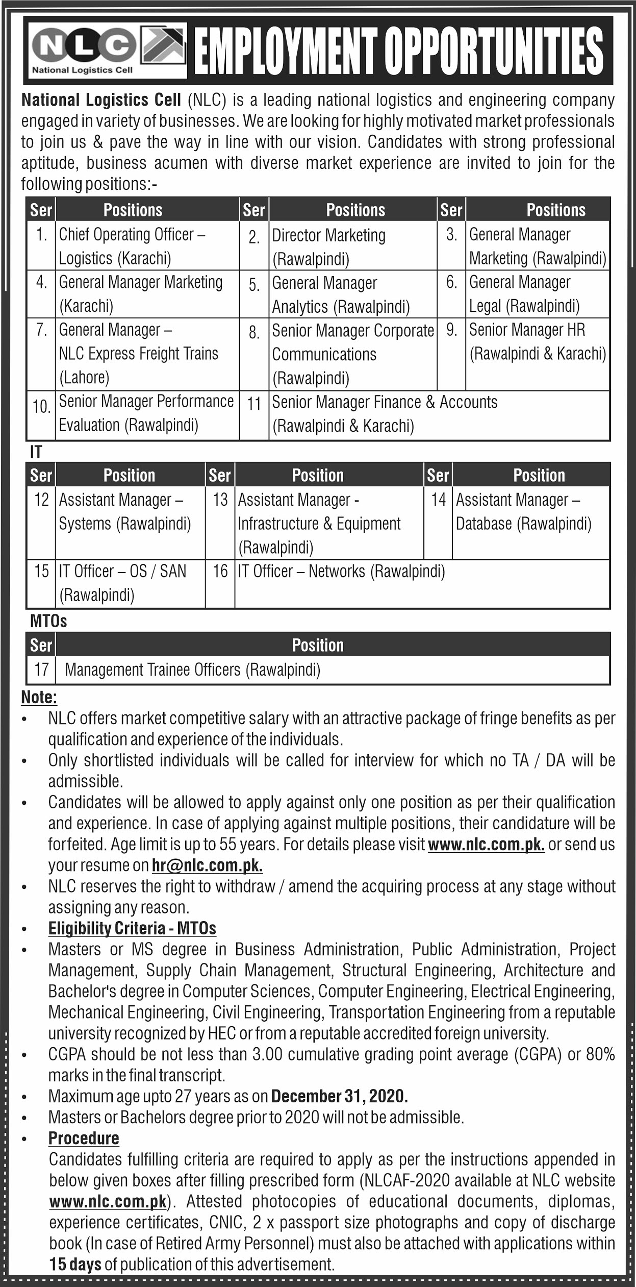 National Logistic Cell NLC Jobs September 2020