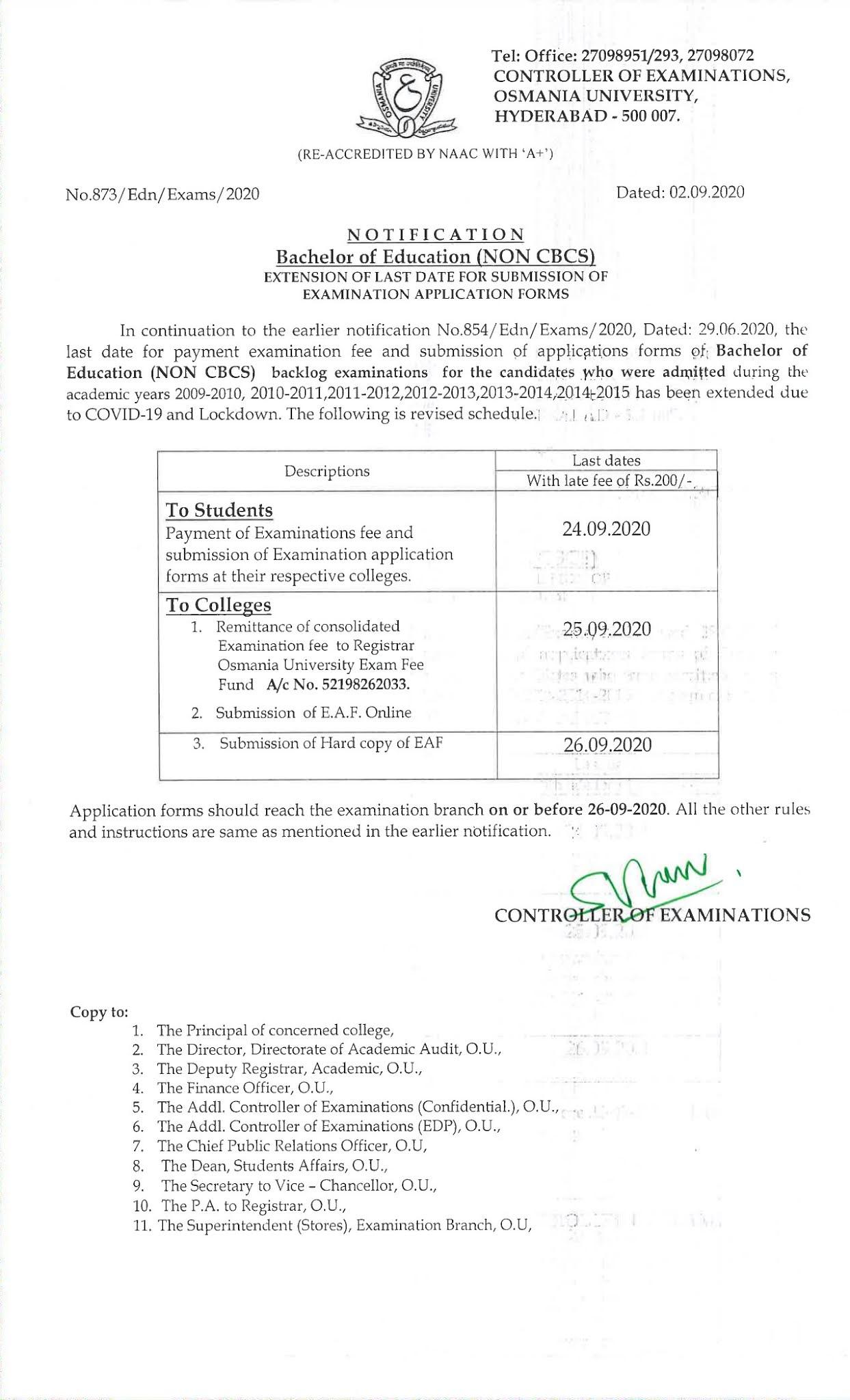 Osmania University B.Ed (Non CBCS) Backlog Sep 2020 Exam Fee Notification