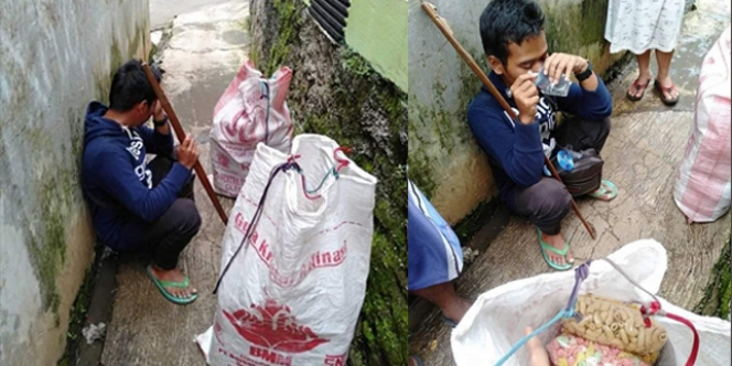Lapar dan Dagangan Tak Laku, Penjual Kerupuk Keliling Nangis di Dalam Gang