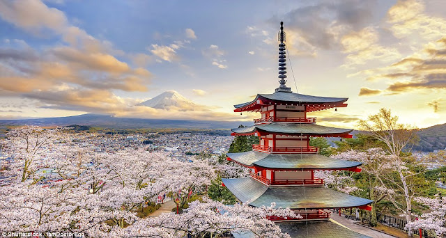 A pagoda in Fujiyoshida, Japan, built in 1958 to commemorate some 960 residents of the city who died in wars after 1868.