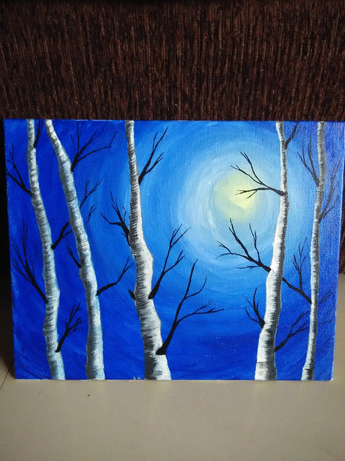 Winter Birch Tree Canvas Painting Project