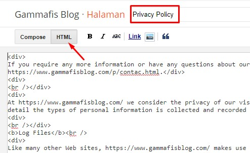 Halaman Privacy Policy