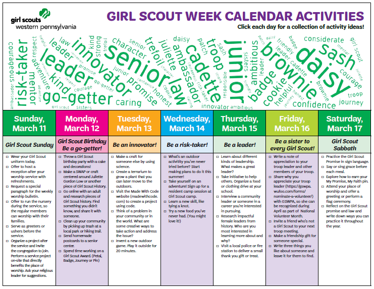 Girl scouts western pennsylvania girl scout week march 11 17 girl scout week march 11 17 publicscrutiny Image collections