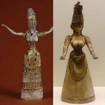 Altre due statuette della Dea dei Serpenti rinvenute negli scavi del Palazzo di Cnosso a Creta