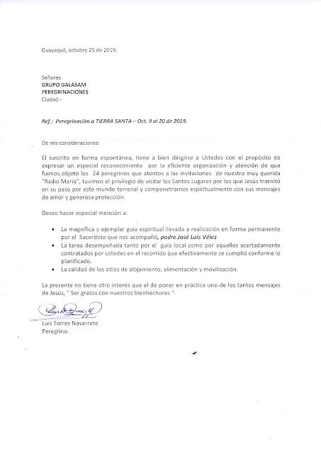 Carta recibida sobre los servicios de las peregrinaciones de Galasam