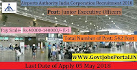 Airports Authority India Recruitment 2018- 542 Junior Executive Officers