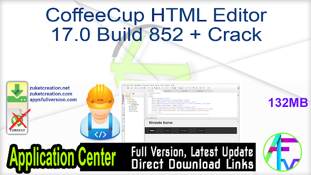 CoffeeCup HTML Editor 17.0 Build 852 + Crack