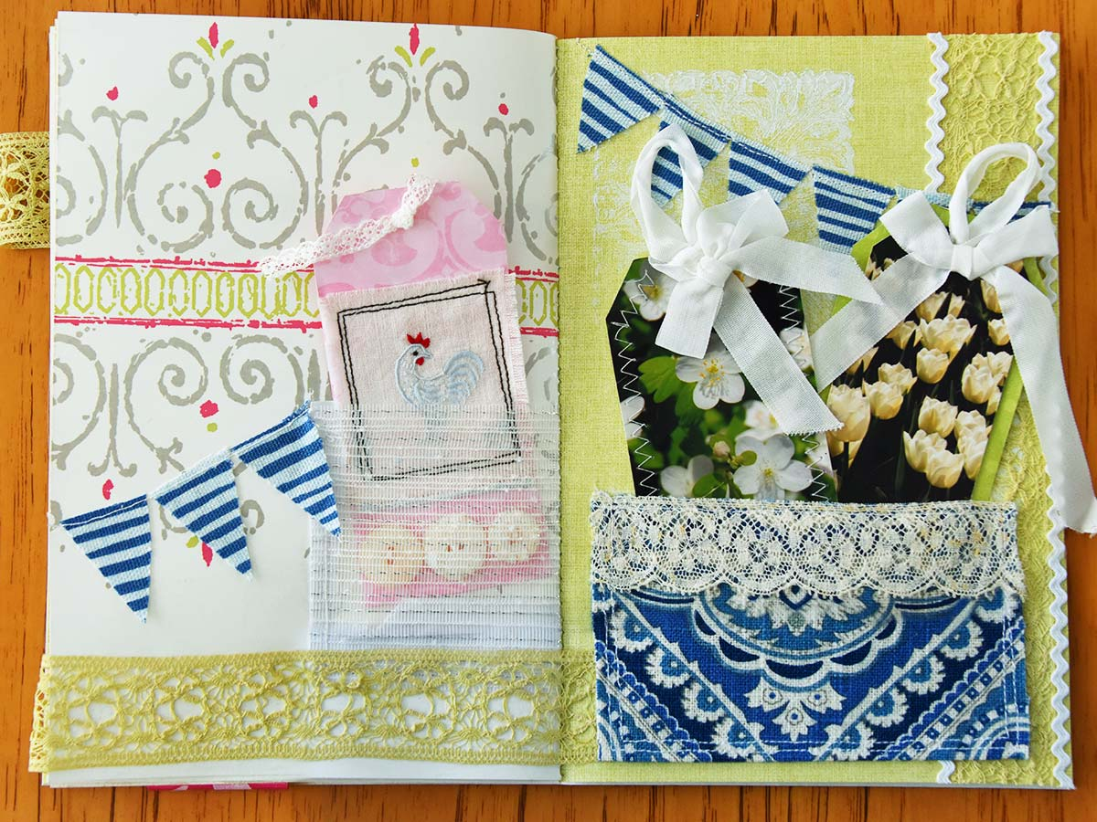 Spring mini album spread 2 with tags by Jeanne Selep