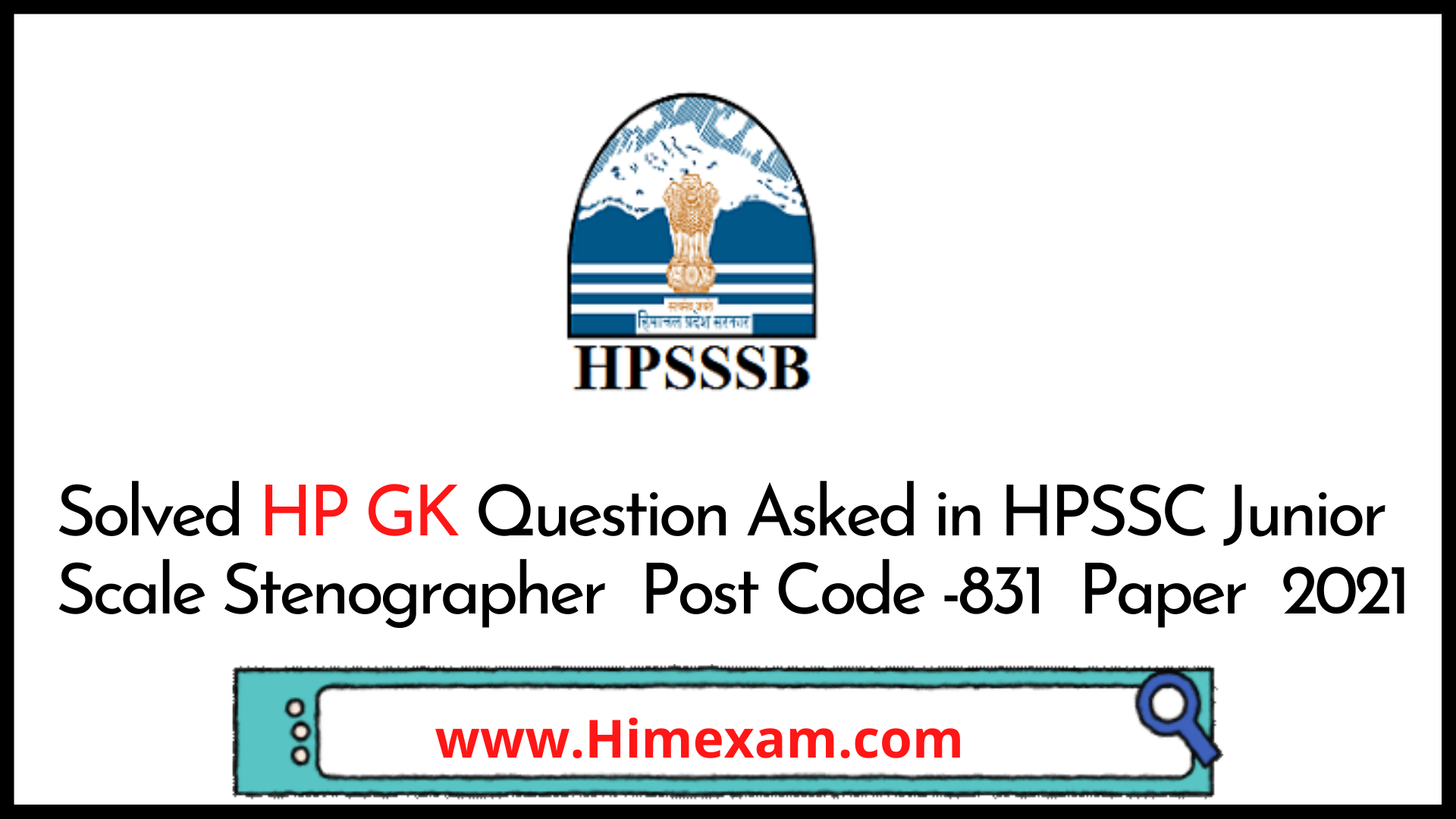 Solved HP GK Question Asked in HPSSC Junior Scale Stenographer  Post Code -831  Paper  2021