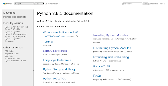Table of contents of the Python documentation