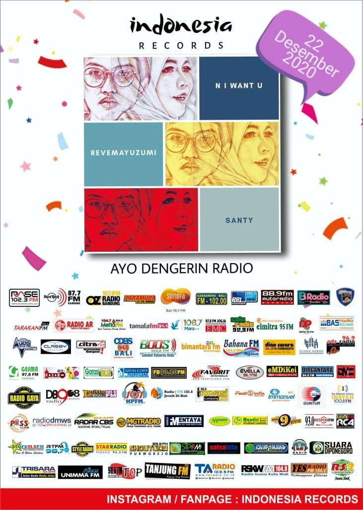 Flayer lagu N I Want U dari Revemayuzumi feat Santy, rilis di 76 stasiun radio di Hari Ibu.