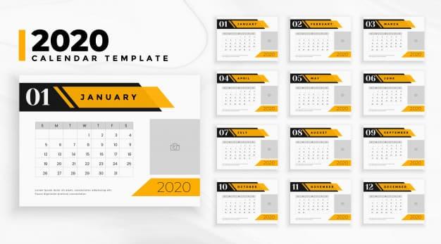 Calendario editable para negocios 2020